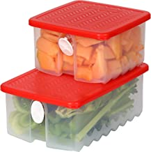 Fresh Fruit and Vegetable Food Keeper Saver Storage Container with Air Vented Lids Produce Keeper Dishwasher, Freezer, Ref...