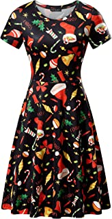 FENSACE Womens Round Neck Short Sleeve Fit and Flare Skater Midi Casual Christmas Dress
