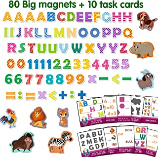 MAGDUM ABC - 80 Magnetic Alphabet Letters and Numbers -Real Large Fridge Magnets for Toddlers- Magnetic Educational Toys Baby 3 Year Old Baby Learning Magnets for Kids- Development Toys - Kid Magnets