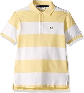 50767b19b Lacoste Boy Short Sleeve Bicolor Striped Pique Polo