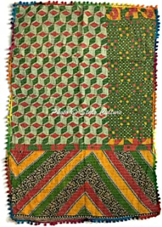 Stylo Culture Indian Cotton Baby Blanket Quilt for Boys Soft Thin Vintage Kantha Embroidered Childrens Quilt Multicolored Floral Printed Rectangular Nursery Decor (48 x 32 Inches)