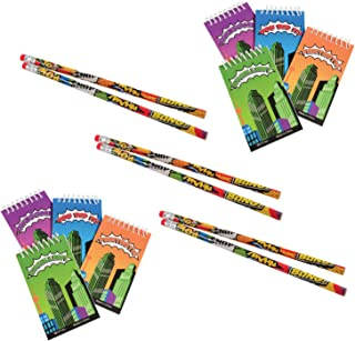 Nikkis Knick Knacks 36 Piece Superhero Stationary Set Notepads Pencils and Stampers