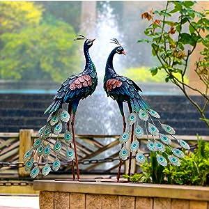 CHISHEEN Garden Peacock Statues Outdoor Metal Decor, Garden Art Sculptures Standing for Patio Yard Lawn Pond Home Decorations, Set of 2