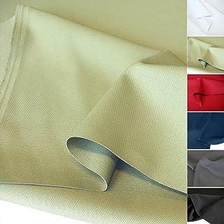 TOLKO Baumwollstoff Meterware mit Polyester   Mittelschwerer Canvas Segeltuch Stoff als Stabiler und Reißfester Polster Möbelstoff zum Nähen und Beziehen Grün-Beige