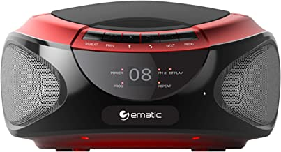 Ematic CD Boom Box with Bluetooth Audio and Speakerphone, Red