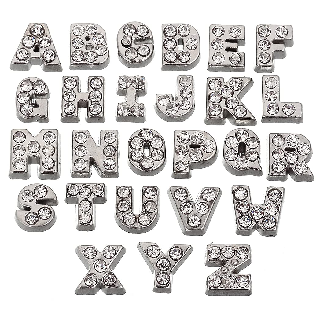 RUBYCA 52pcs Czech Crystal Floating Charms Alphabet A-Z Letters Lot for Glass Living Memory Locket Silver Color