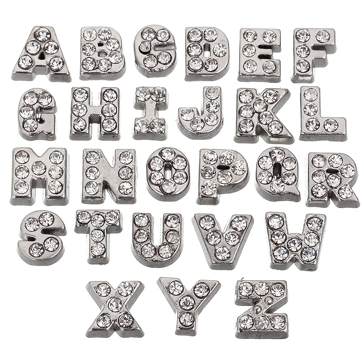 RUBYCA 26pcs Czech Crystal Floating Charms Alphabet A-Z Letters Lot for Glass Living Memory Locket Silver Color
