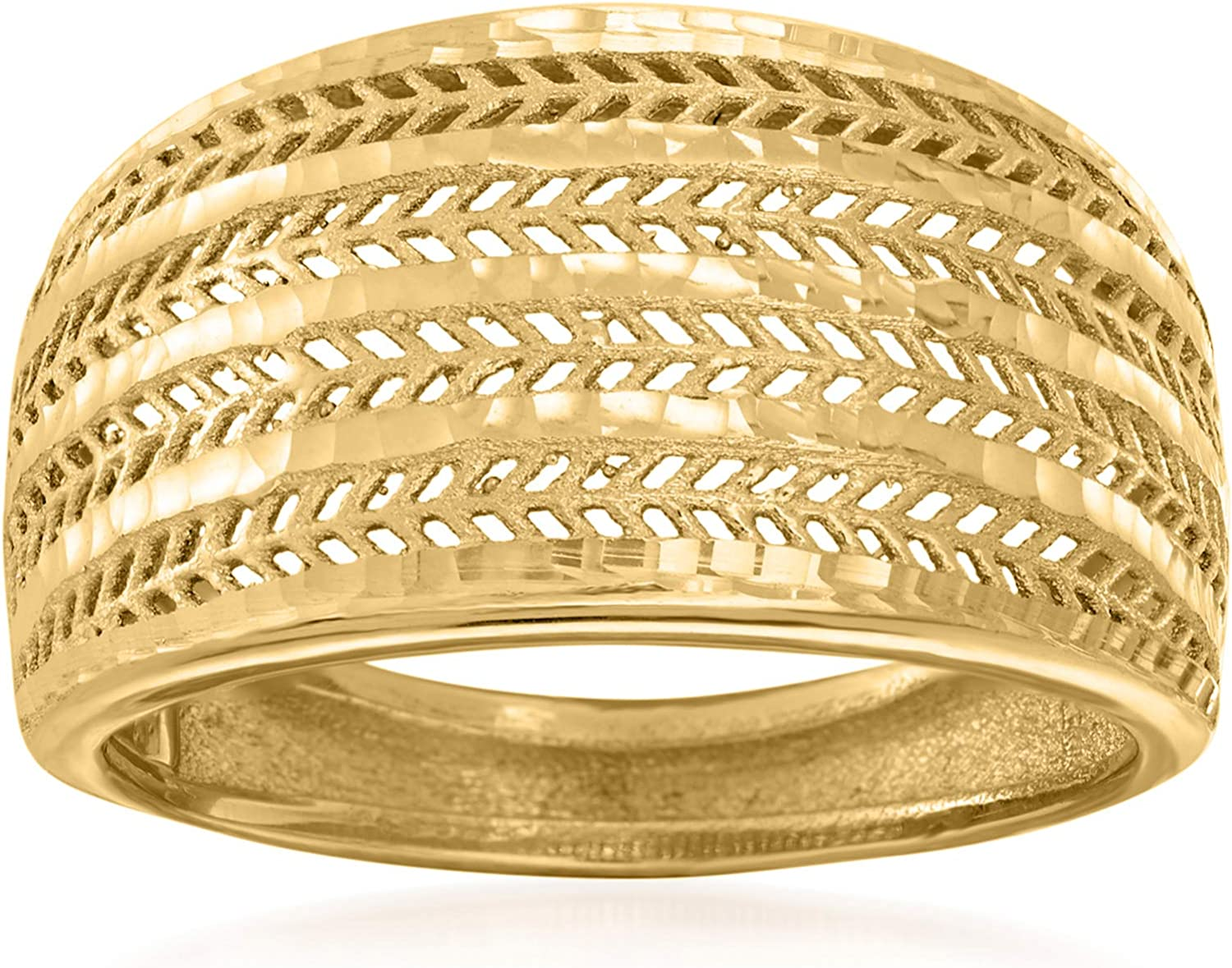 Ross-Simons Italian 18kt Yellow Gold Textured and Polished Ring