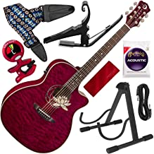Luna Flora Series Lotus Quilted Maple Cutaway Acoustic-Electric Guitar with Kyser Quick-Change Capo Deluxe Accessory Bundle