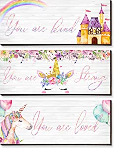 3 Pieces Girl Unicorn Wooden Hanging Wall Plaques You Are Kind Strong Loved Poistive Wall Decors Castle Rainbow Flowers Balloons Signs Room Wall Art Decors for Baby Girls Daughter Niece Bedroom