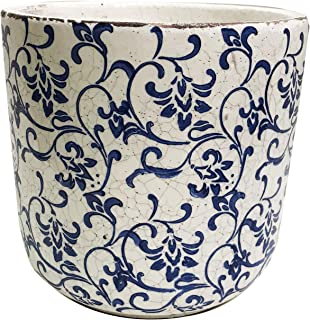 Old World Ceramic Blue and White Pattern Round planters or Garden pots (Cylindrical Vine Print 7.2 inches Tall)