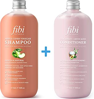 FIBI Naturals Apple Cider Vinegar Shampoo & Conditioner Set - (2 x 473mL) - Increase Gloss, Hydration, Shine - Reduce Itchy Scalp, Dandruff & Frizz - No Sulphates or Parabens - All Hair Types