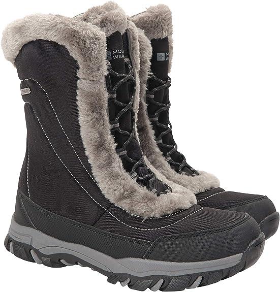 TALLA 38 EU. Mountain Warehouse Botas de Nieve para Mujer de Ohio: Zapatos de Invierno a Prueba de Agua, Parte Superior de Tela, Forro y Suela de Goma Isotherm Transpirable y Duradero