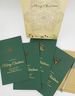Vintage Metal Decorated Christmas Cards - Set of 8 with 4 designs - Metallic Color Pen & Envelopes Included - 6.75 x 4.12 ...
