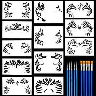 12 Pack Face Painting Stencils Safe & Non-Toxic Reusable Body Painting Facial Makeup Tattoo Template Halloween Makeup Stencil with 10 Nylon Brushes