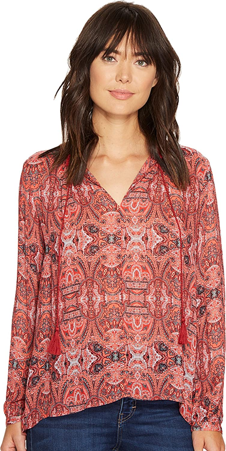 Lucky Brand Womens Paisley Fringe Casual Top
