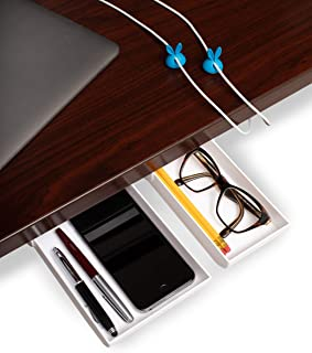 2-Pack White Large/Small Under Desk Drawer & 2-Pack Blue Cable Clips, Pencil Tray Under Desk Storage Hidden Adhesive Drawe...