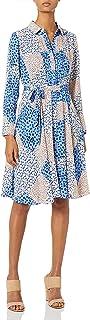 Nanette Nanette Lepore Womens NM9S17120 Ls Pleated Shirt DRS Self Tie Long Sleeve Casual Dress