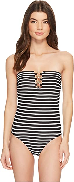 MICHAEL Michael Kors - Cabana Stripe Bandeau One-Piece Swimsuit w/ Ring Chain Trim & Removable Soft Cups