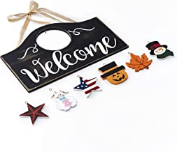 The Lakeside Collection Wall Hanging Welcome Sign with 6 Interchangeable Seasonal Icons