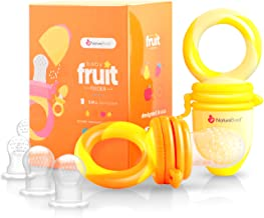 NatureBond Baby Food Feeder/Fruit Feeder Pacifier (2 Pack) - Infant Teething Toy Teether in Appetite Stimulating Colors   Bonus Includes Silicone Sacs (Sunshine Orange & Lemonade Yellow)