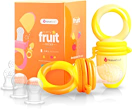 NatureBond Baby Food Feeder/Fruit Feeder Pacifier (2 Pack) - Infant Teething Toy Teether in Appetite Stimulating Colors   Bonus Includes All Sizes Silicone Sacs (Sunshine Orange & Lemonade Yellow)