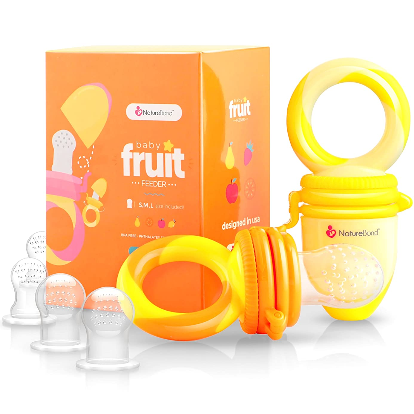 NatureBond Baby Food Feeder/Fruit Feeder Pacifier (2 Pack) - Infant Teething Toy Teether in Appetite Stimulating Colors | Bonus Includes All Sizes Silicone Sacs (Sunshine Orange and Lemonade Yellow)