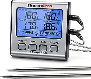 ThermoPro TP17 Termometro Cucina Digitale a Doppia Sonda con Modalità Timer e Display LCD per Cottura BBQ Alimenti Carne F...