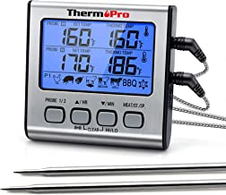 ThermoPro TP17 Digitale grillthermometer, braadthermometer, vleesthermometer, oventhermometer met timer, twee roestvrijsta...