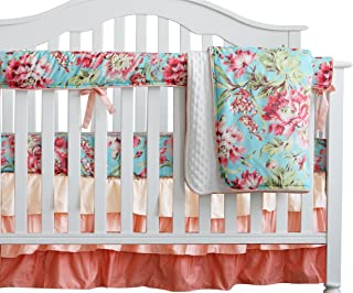Sahaler Baby Crib Bedding Set for Girls Boy   4 Pieces Set of Floral Nursery Bedding   Baby Blanket & Fitted Crib Sheets & Skirt & Rail Cover - Aqua