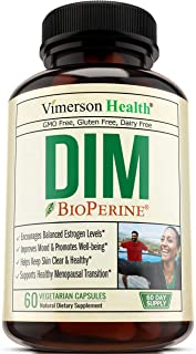 DIM 250 milligrams with Bioperine, Chlorella and Tart Cherry Supplement. Supports Healthy Estrogen Levels, Assist Menopause Transition, Clear Skin, Ease PMS with Vitamin C E and B6.
