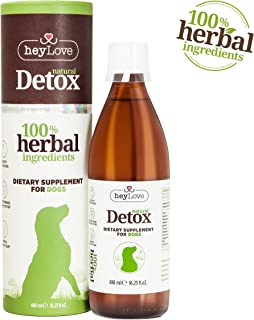 heyLove Natural Detox Herbal Dietary Supplement for Dogs – Distilled Herbal Water for Pets 100% Natural & Non-Toxic Formula – Strengthens Immune System – Shiny & Healthy Coat