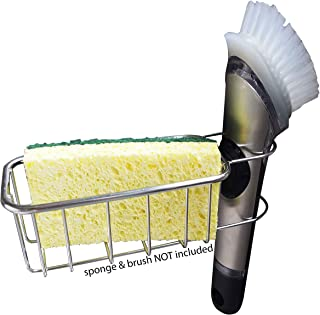 2-in-1 NO FALL Adhesive Sponge Holder | In Sink Brush Caddy | Detachable Stainless Steel Kitchen Sink Organization Basket for Sponges, Scrubbers, Dish Brushes | No Suction Cup or Magnet