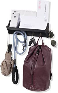 Wall Mounted Coat Rack Shelf with Hooks Wood Entryway Organizer Key Phone Mail Holder (Black)