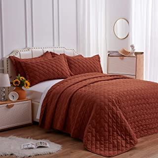 SunStyle Home Quilt Set Twin Size Umber 2 Piece, Ultra Soft Lightweight Luxurious Microfiber Coverlet Modern Style Rectang...