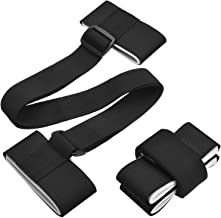 2 Pack Ski Carrier Strap, Adjustable Shoulder Carrier Lash Handle Straps with Cushioned Fastener Tape Strap Loop for Easily Carry Skis and Poles, Black
