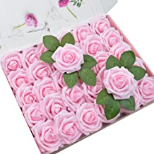 DerBlue 60pcs Artificial Roses Flowers Real Looking Fake Roses Artificial Foam Roses Decoration DIY for Wedding Bouquets,Arrangements Party Baby Shower Home Decorations-with Green Leaves (Light Pink)