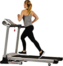 Sunny Health & Fitness Electric Folding Treadmill with Auto Incline, LCD and Pulse Monitor, Speakers, Shock Absorb, 285 LB Max Weight and Body Fat Calculator - SF-T7873