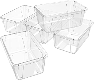 Storex Small Cubby Bin 12.2 x 7.8 x 5.1 Inches, 5-Pack Clear