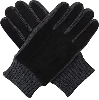 0470e1d0b25 Bruceriver Mens Suede Leather Touchscreen Gloves with Warm Fleece Lining  and Knit Cuff