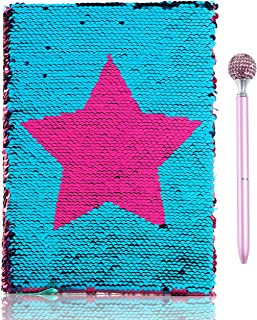 handrong Magic Sequin Notebook with Ballpoint Pen, Reversible Star Sequins Notebook Mermaid Double Sided Flip Sequin Journal for School Diary Office Travel Girls Kids Birthday, Rose Red - Blue
