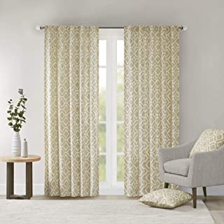Yellow Curtains For Living Room, Modern Contemporary Fabric Curtains For Bedroom, Delray Diamond Print Rod Pocket Window Curtains, 42x84, 1-Panel Pack