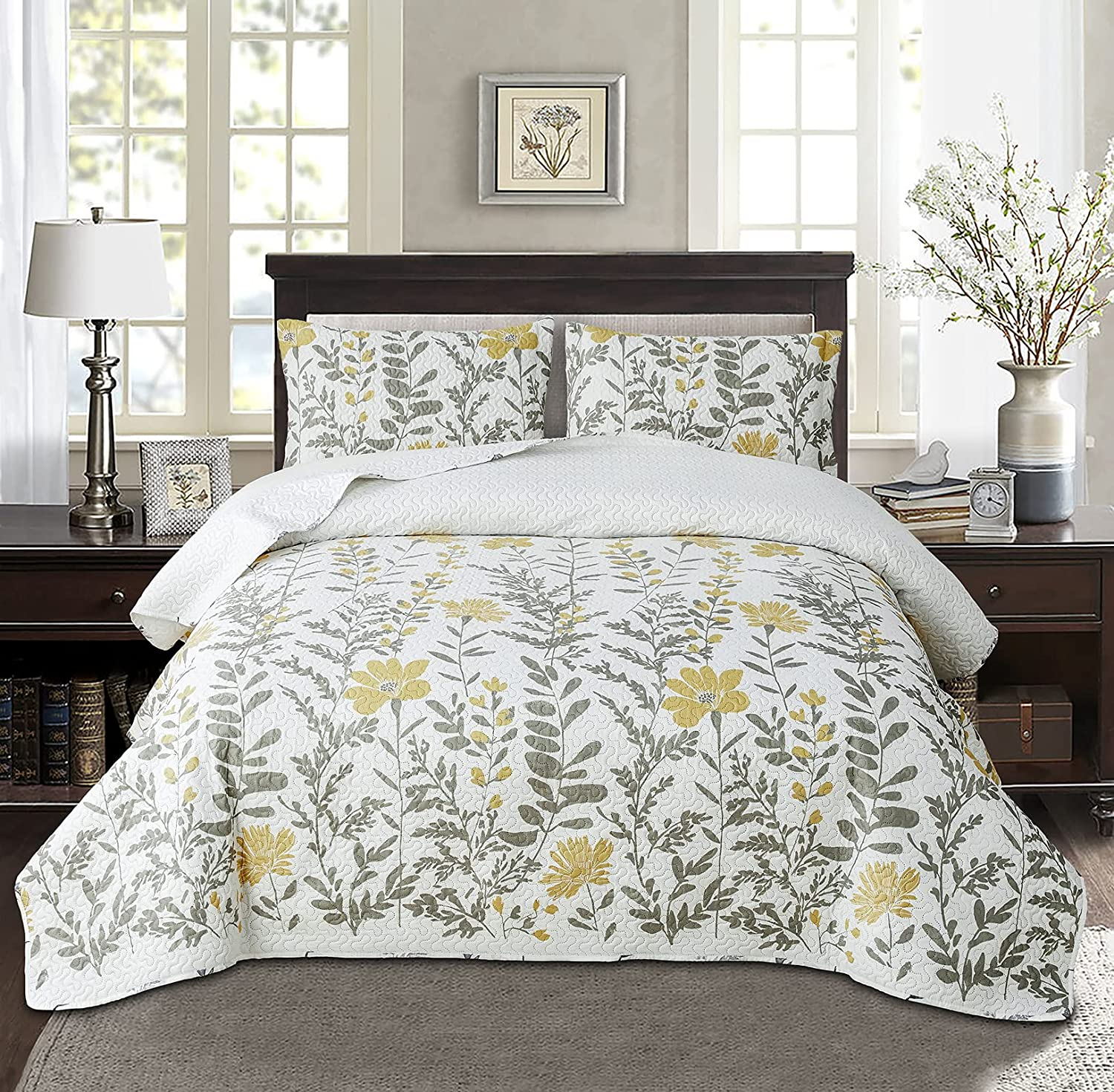 Ultra Soft Reversible Floral 3 Piece Quilted Ranking TOP3 At the price Coverlet Set King