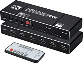avedio links 4K@60Hz 4x2 HDMI Matrix Switcher, HDMI 2.0b Matrix Switch 4 in 2 Out, 4K HDMI Switcher Splitter + Optical and...