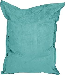 Lumaland Grand Pouf Micro Velours XXL 380l pour Enfants et Adultes Siège rembourré géant 140 x 180 cm Intérieur Turquoise