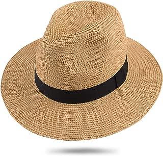 Wide Brim Straw Panama Hat Sun Hats for Women and Men Roll Up Beach-Fedora Summer Travel
