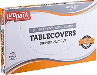 Propack Disposable Heavy Weight Clear Plastic Tablecovers Individually Cut SIZE: 66'' x 120'' 14 Precut Tablecloth In A Box Pack of 4 (56 tablecloth total)