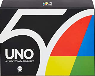 Uno Premium 50Th Anniversary Edition Matching Card Game Featuring Commemorative Coin & 112 Cards, Game Night, Kids & Colle...