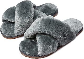 Sponsored Ad - Slippers Women Fuzzy Cross Band Acorn Anti-Skid House Shoes Fluffy Flip Flop Home Plush Fleece Open Toe Coz...