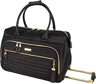 Steve Madden Luggage Patchwork Suitcase Wheeled Duffle Bag (Illusion Black)